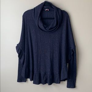 Anthropologie oversized navy and copper sweater lg